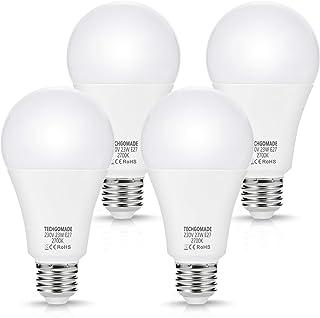 4 lámparas LED A65 E27 de 23W, reemplazo Techgomade para lámparas incandescentes de 200W, 2500LM, blanco cálido 2700K, bombilla LED de bajo consumo, no regulable, para garaje, sala de estar, hotel