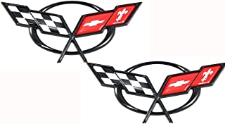 Corvette C5 Emblem for 1997-2001 Chevrolet Corvette Crossed Flags (Pair - Front & Rear)