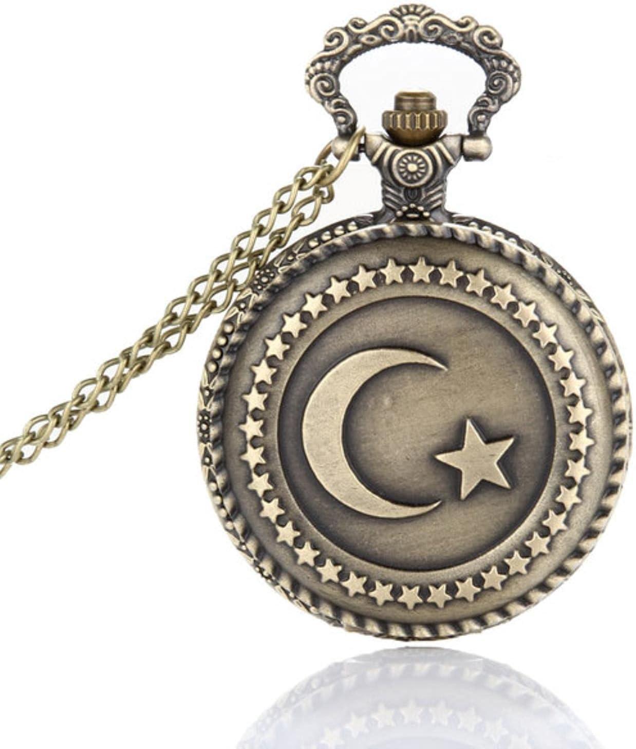 JTWMY Reloj de Bolsillo Bronce Antiguo Diseño de Bandera turca Reloj de Bolsillo de Cuarzo con Tema de Luna y Estrella con Cadena de Collar-predeterminado