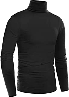 Mens Thermal Mock Turtleneck Long Sleeve T Shirt Knitted Pullover Basic Slim Fit Shirts