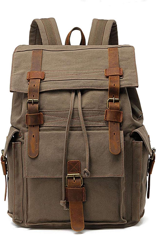 WSHP Europische Retro-Rucksack, 36L Canvas Bag Groe Kapazitt Outdoor-Reiserucksack Freizeit-Rucksack Computer-Tasche