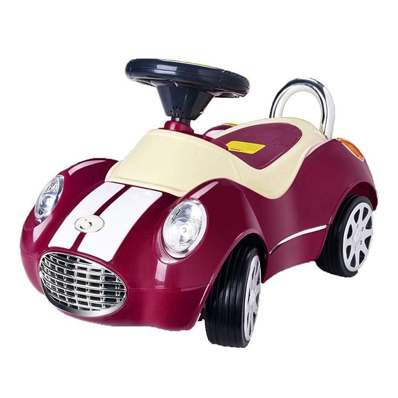 評価可能前兆米ドル子供用スクーター ツイストカー ベビーカー 音楽付き 耐荷重23kg 音楽付き おもちゃの車に座ることができる 2-4歳 ギフト (Color : Purple, Size : 35*71*38cm)