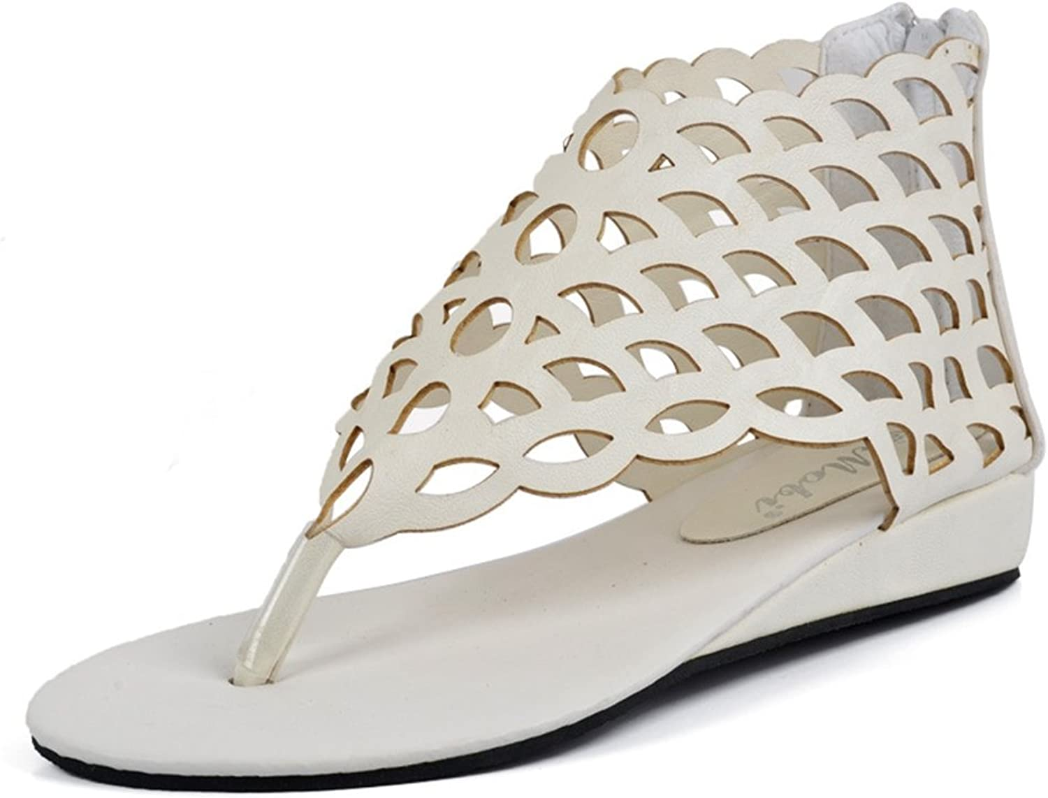 CYBLING Womens Flats Sandals Fashion T-Strap Bohemian Thong Leather Summer Dress shoes