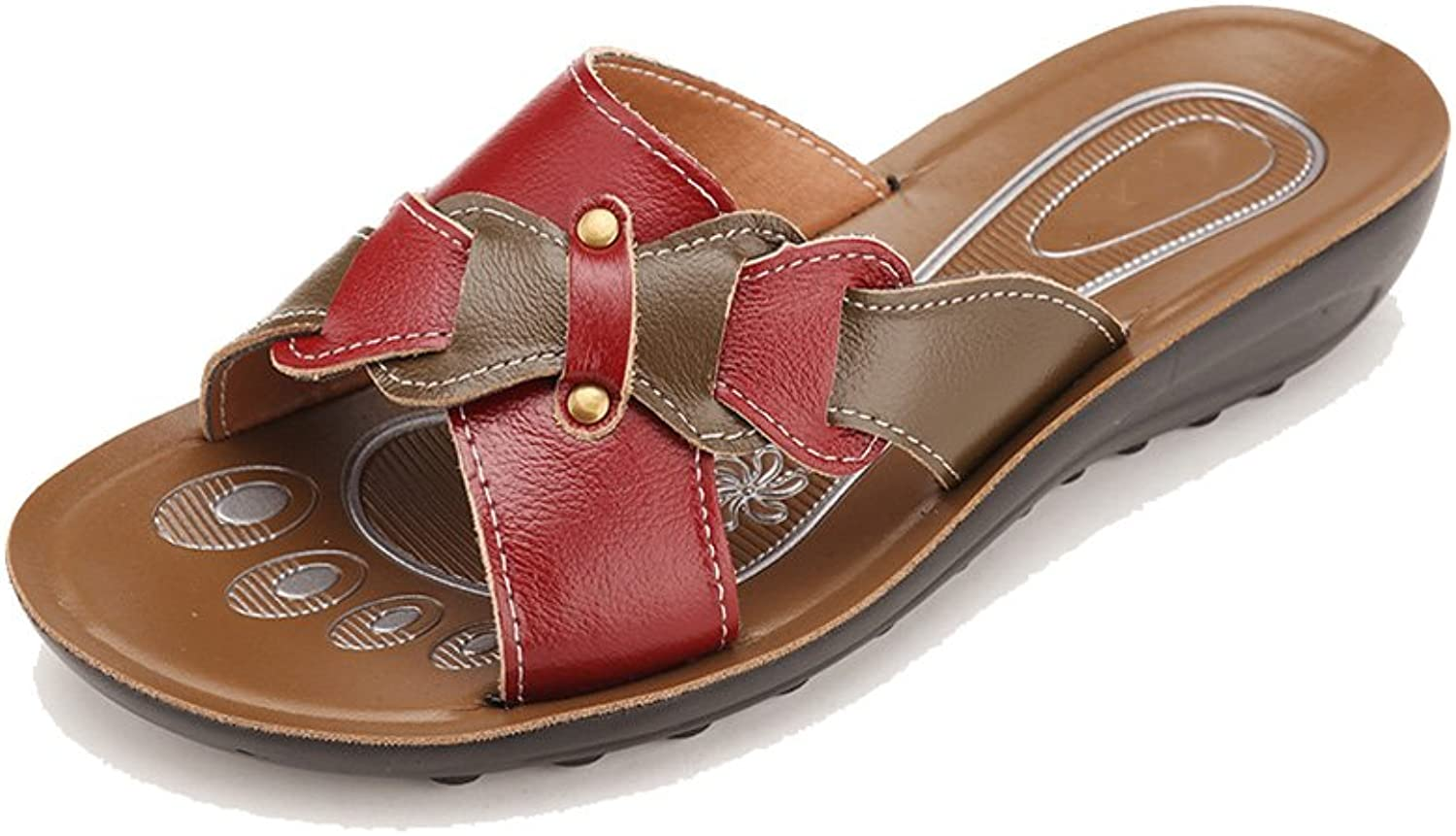 Duberess Women's Casual Comfortable Real Leather Ladies Wedged Summer shoes