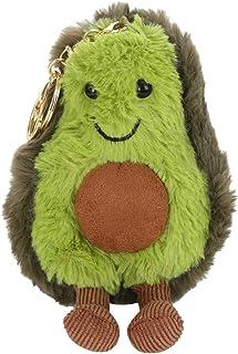 LuDa Miniature Avocado Dolls Keychain Plush Keyring Backbag Pendant Ornament for Keys