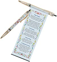 Retractable Ink Pen with Pull Out Catholic Prayers in Spanish, Black Ink