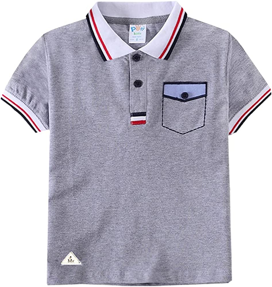 Paly Boy's Short Sleeve Pique Polo Shirts Toddler boy School Uniform Tops for Kids
