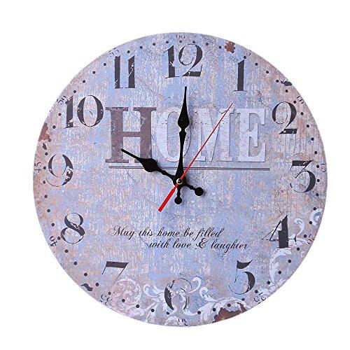 Gaoqi Reloj de Pared de Madera Antiguo silencioso Que no Hace tictac del Estilo del Vintage para la Oficina de la Cocina casera
