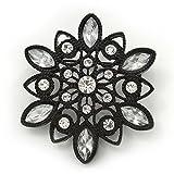 Viktorianischer Stil, Weiß, Akryl/transparent, Kristallblumenmotiv, Brosche,Metall/Schwarz- 4,5 cm...