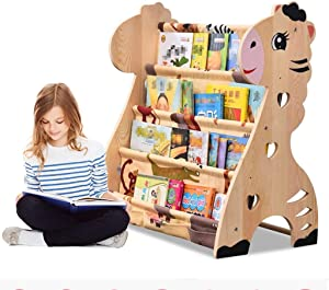ZXvbyuff Kids Bookshelf, Solid Wood Bookshelf Toy Rack Storage Organizer Cute Cartoon Animals,Household Simple Bookshelf Multifunctional Floor Picture Book Children's Bookshelf