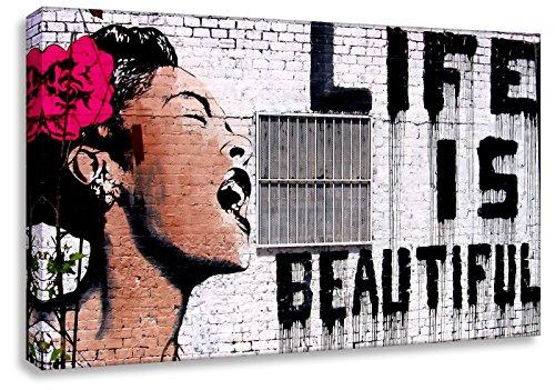 """'Impresión Sobre Kunstbrüder """"Banksy"""" Graffiti–de Life is Beautiful. (Varios Tamaños) de Montado en bastidor. Pop) Cuadro pared, imágenes, imágenes, 40x65cm"""