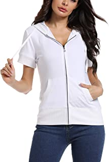MISS MOLY Damen Kurzarm Kapuzenpullover Sweatjacke Hoodie Sweatshirt mit Reissverschluss