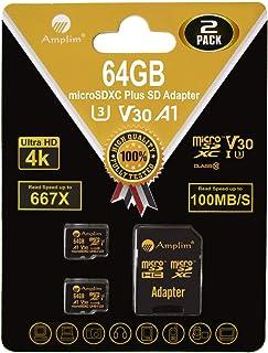 Amplim 2-Pack 64GB Micro SD Card Plus Adapter Pack 2X MicroSD SDXC Card 100MB/s V30 A1 U3 C10 UHS-I 4K Video MicroSDXC Mem...