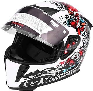 Motorradhelm, Erwachsener Vollgesichts Motorradschutzhelm mit Doppellinsen Weiß Clown Muster(L)