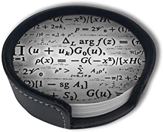 LKJDAD Gray Math Formula Premium PU Leather Coasters, Drink Round Coasters with Holder Sets, Suitable for Home and Kitchen(6PCS)