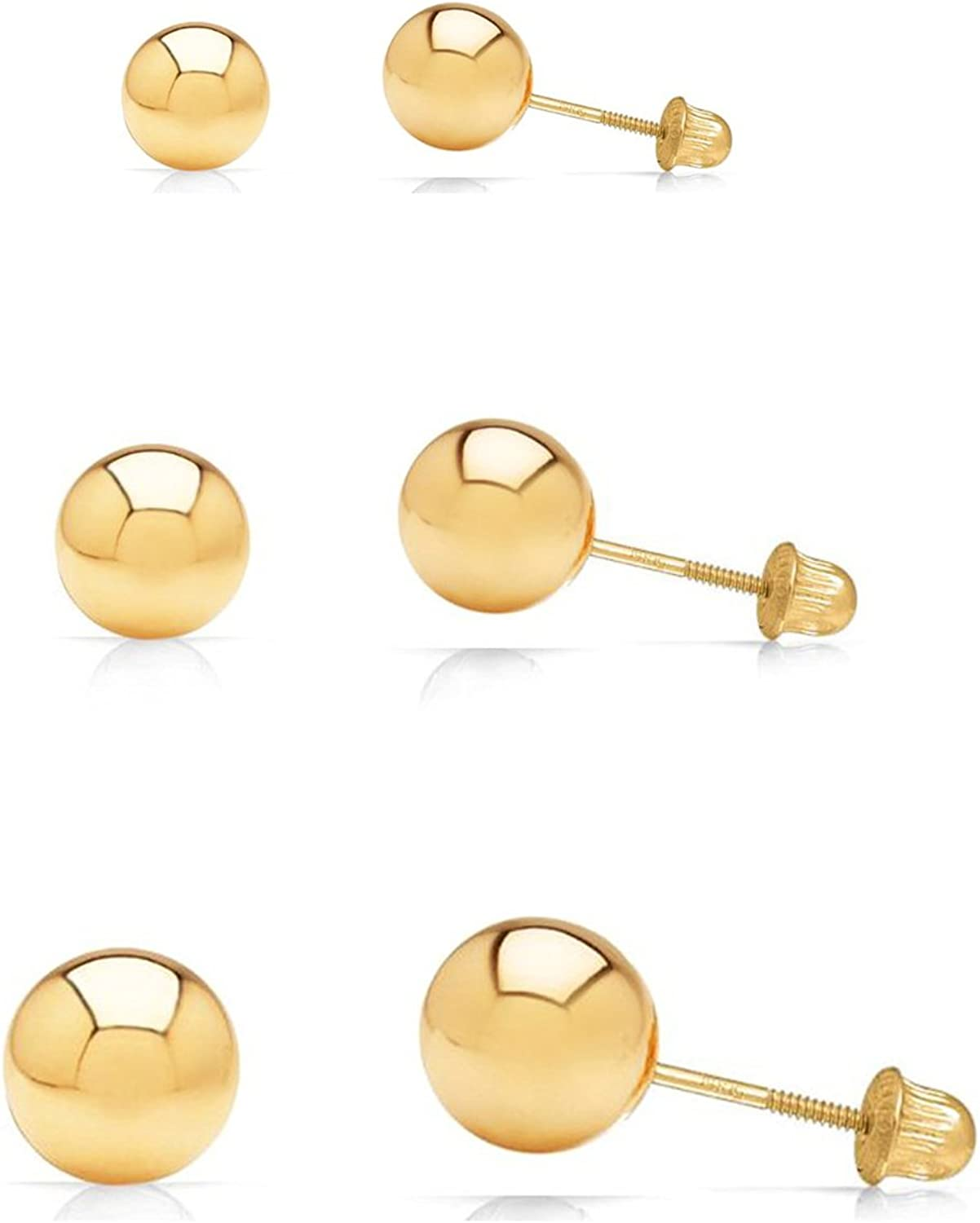 Dual Backers Too! Solid 14k Gold Puff Ball Stud Earrings 4mm Comes Gift Boxed