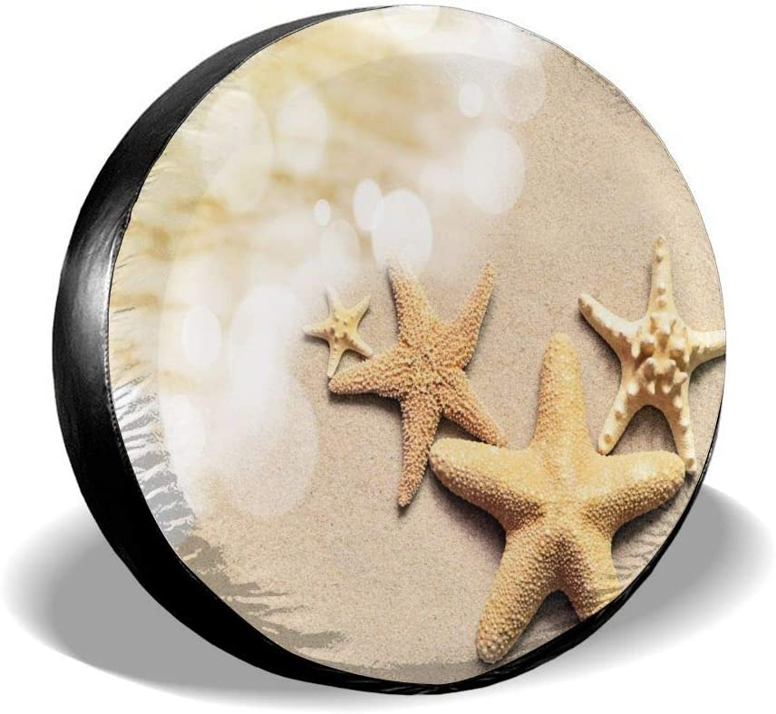 Auto Accessories Travel All agree Universal Spare Tire Cover Tropical Summer Beach Starfish Car RV Camper Wheel Tyre Covers Protectors for Trailer Truck Vehicle Boat Motorhome Waterproof SUV