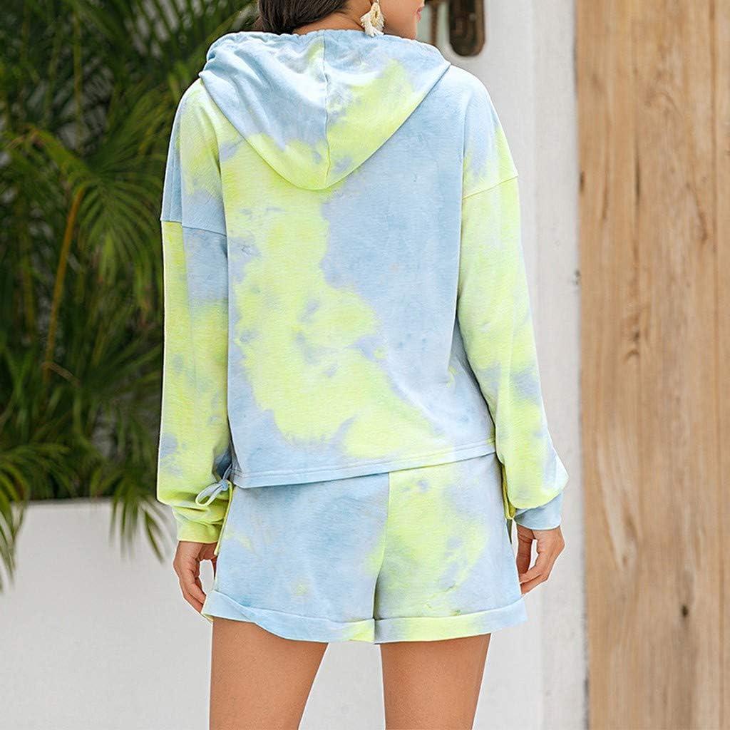 Loungewear for Women Shorts Set,Women Short Pajama Set Long Sleeve Hoodie Tie Dye Printed PJ Set Loungewear