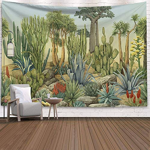 N / A Tapiz de Cactus suculentas decoración de Pared Paisaje Tropical tapices Colgantes de Pared Manta de Picnic Tela de Pared A6 150x130cm