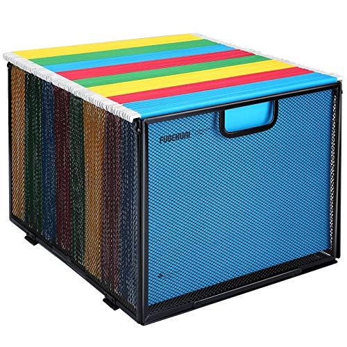 Hanging File Folder Organizer, Mesh Metal File Organizer Box Office Filing Crate Folder Holder Storage Box, Letter Size, Black