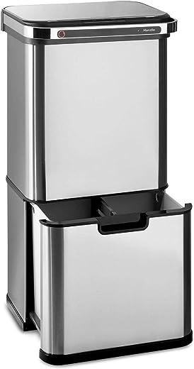 Klarstein Touchless Ultraclean – Sensor-Mülleimer, 60 Liter Volumen in 3 Behältern, Ozon-Sterilisation: beseitigt 90% der Bakterien und Viren,…