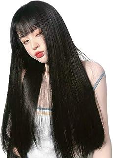 Vigorousウィッグ ロング 黒 ストレート ブラック 地雷女 韓国風 自然 かつら カツラ フルウィッグ ぱっつん前髪 小顔 自然 耐熱wig医療用 ネット付き