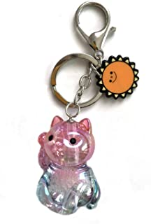 JaneOft Kitty Cat Keychain 3D, Glitter Key Ring Bags Pendant Car Charm