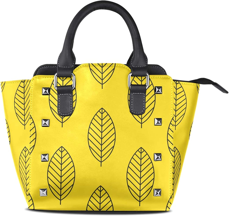 My Little Nest Women's Top Handle Satchel Handbag Simple Autumn Leaves Yellow Ladies PU Leather Shoulder Bag Crossbody Bag