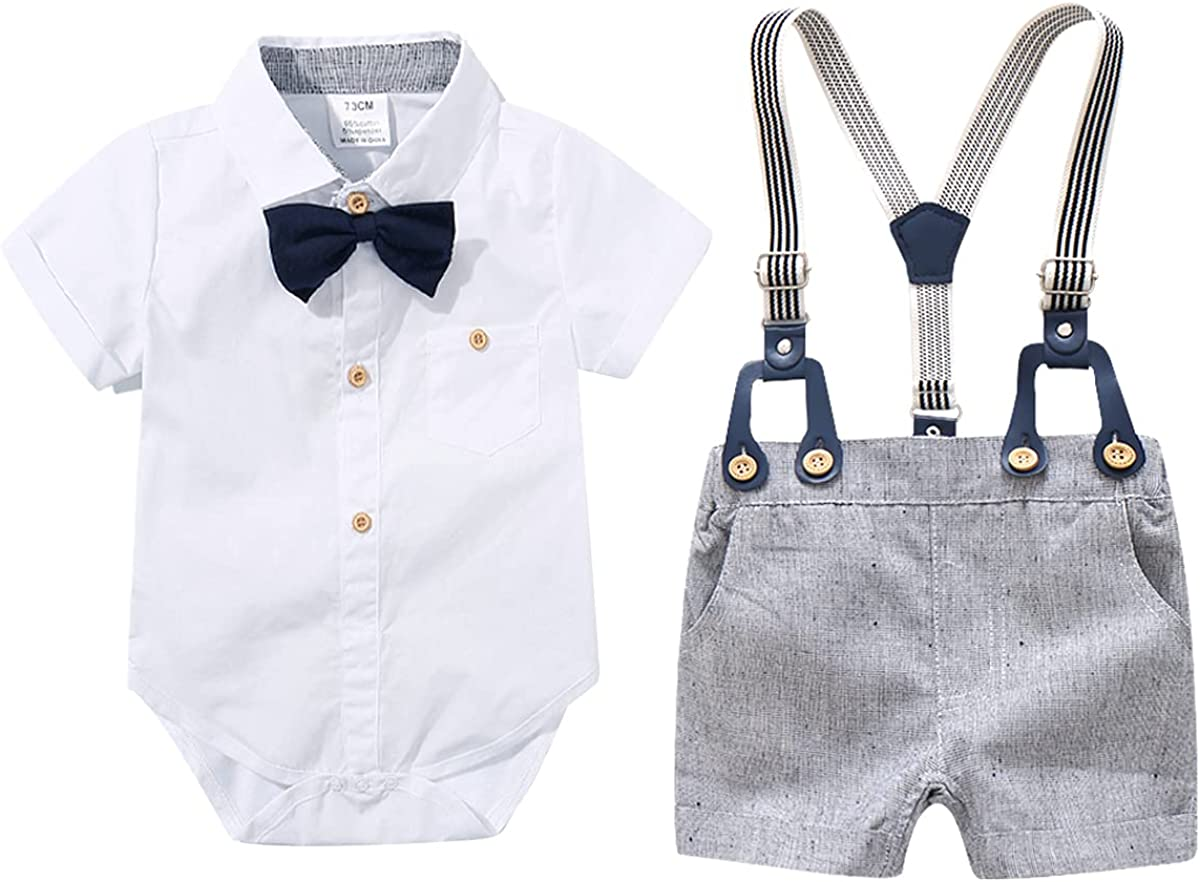 Baby Boys Gentleman Outfits Suits, Infant Short Sleeve Shirt+Pants+Tie Clothes Set for Wedding and Party