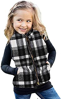 Ivay Girls Buffalo Cotton Plaid Quilted Vest Cute Puff Lined Gilet (5T/110cm, White)