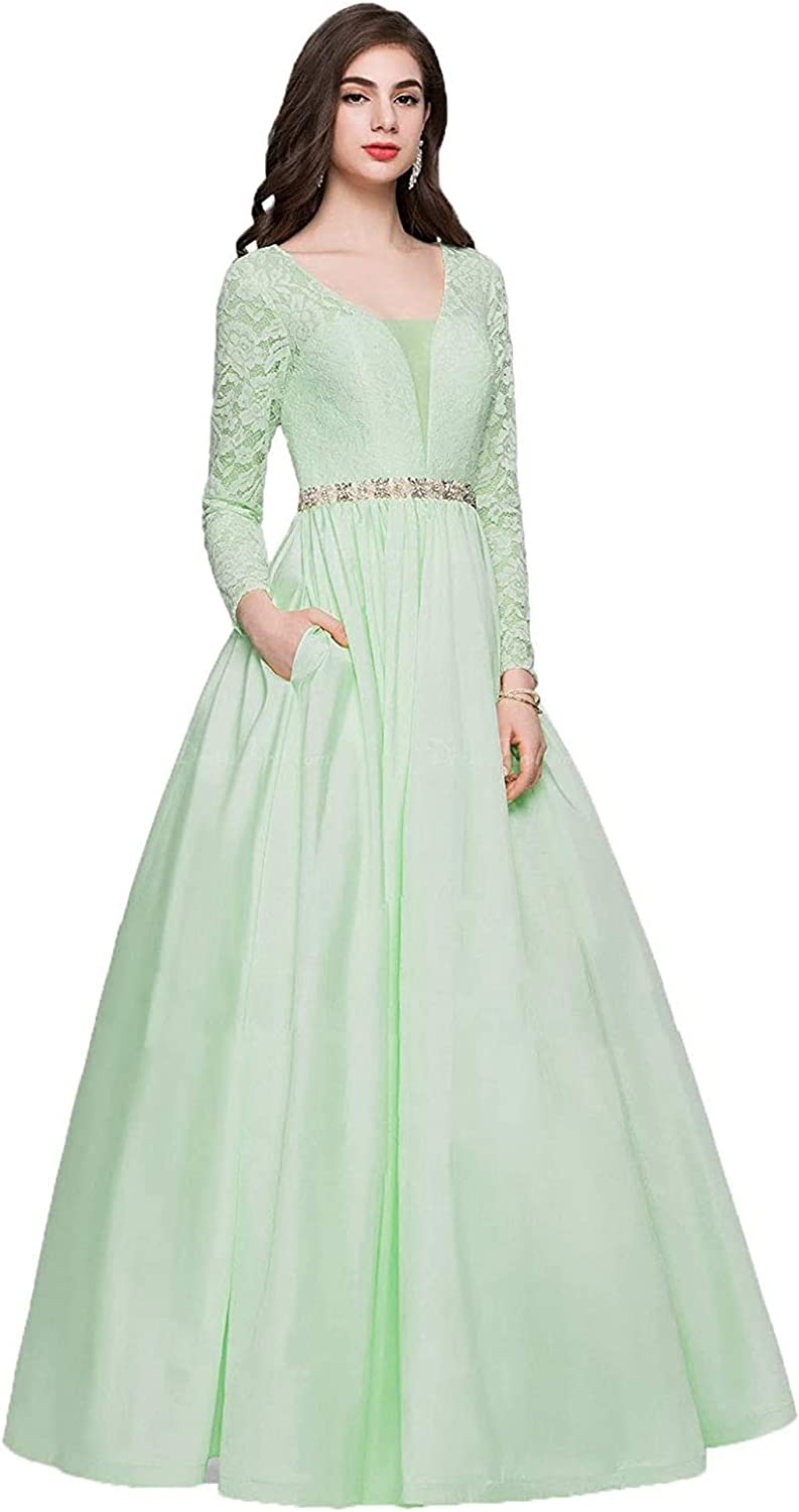 Houganhe Lace Long Sleeve Trust Satin Dresses Wedding Sales for sale Crystal Evening