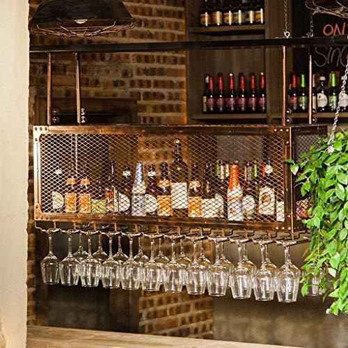 HXCD Estante de vino, montado en la pared, bar, restaurante, botella de vino, estante de metal de hierro, estante de almacenamiento en bar, hogar, techo, vino, champán, bronce, 60 x 30 cm