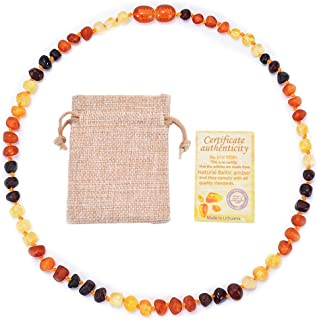 Teething Necklace,Asukohu Certified Genuine Raw Baltic Amber Teething Necklace Baby Beads for Teethers