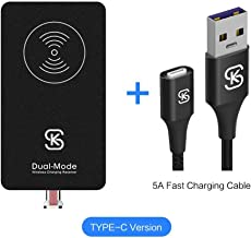 USB C Magnetic Wireless Charger Receiver Kit SIKAI Ultra Slim Combination Wired & Wireless Charging Cable Magnetic Wireless Receiver with 5A USB C Supercharge Magnetic Cable (for USB C+ 5A Cable)