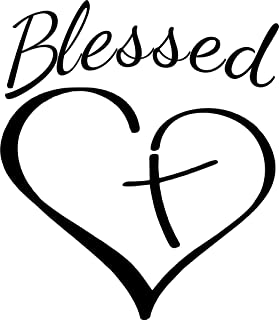 Evan Decals Religious Christian Blessed Heart With Cross Window Decal Vinyl Sticker 6