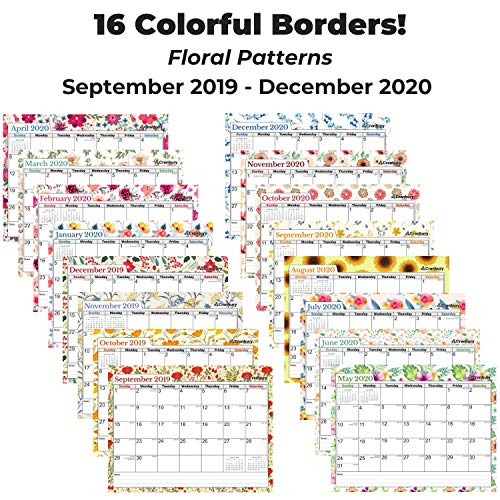Small Wall Calendar 2020 (Floral) 8.5x11 Monthly Wall Calendar, Use to December 2020, with Stickers for Calendars, Hanging Calendar 2019 2020 by Cranbury
