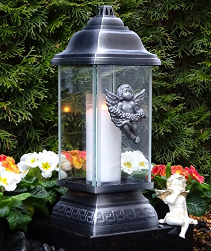 ♥ Grablaterne Grablampe Ornament Engel 34,0cm Silber mit Grabkerze Grablicht Grabschmuck Grableuchte Laterne Kerze Lampe Licht