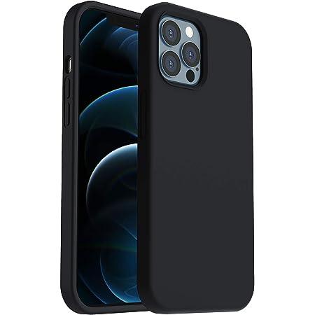 """ORNARTO Funda para iPhone 12/Pro 6,1"""" de Silicona Líquida Reforzada, Protección de Cuerpo Completo de Goma Antichoque Bumper de Protección Case para iPhone 12 Pro/ 12(2020) 6,1 Negro"""
