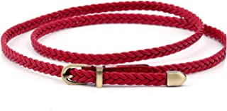 Female Hand Woven Rope Belt Thin Skinny Waistband Adjustable Belts Candy Colors Belts