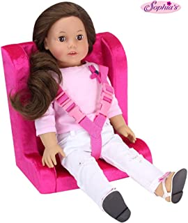 Hot Pink Doll Car Seat for 18 Inch Dolls | Soft Car Doll Seat with Straps