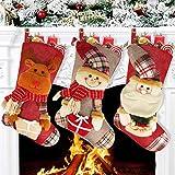 Chaussette de Noel, 3pcs Xmas Sac Cadeau, Grandes Bas de Noël avec Père Noël Bonhomme de Neige et Renne(46 * 22cm), Chaussette Noel a Suspendre pour Décoration Cheminée Sapin Vitrine Bonbons