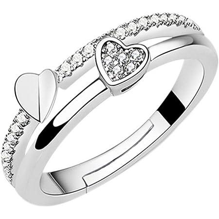 Leisial Regalo Femminile di Anello di Barretta del Diamante della Bocca di Diamante della Bocca di Rame Bianca Pura