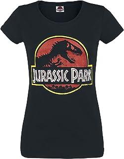 Jurassic Park Logo Femme T-Shirt Manches Courtes Noir, Regular/Coupe Standard