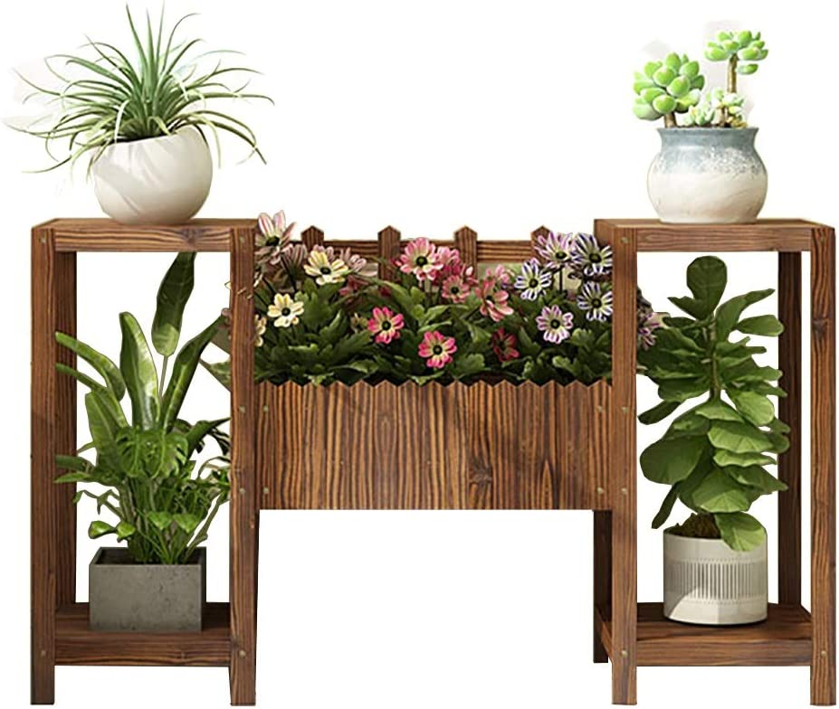 JHZWHJ Wooden Flower Shelf 2-Story Limited price sale Las Vegas Mall Garden Display Stan Staircase