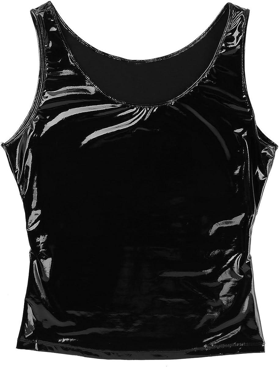 iiniim Mens Wetlook PVC Leather Sleeveless Tank Top Vest Clubwear Muscle T-Shirts Tops