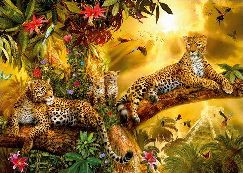 Posterlounge Acrylglasbild 40 x 30 cm: Leoparden im Dschungel von Jan Patrik Krasny/MGL Licensing - Wandbild, Acryl Glasbild, Druck auf Acryl Glas Bild