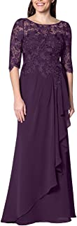 Women's Mother of The Bride Dress Long Evening Flora Lace Prom Party Dress Half Sleeves