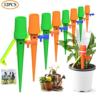 Update Automatic Plant Watering Devices, Universal Self Watering Spikes with Slow Release Control Valve Switch System Suitable for All Bottles, Vacation Drip Irrigation Watering Gardens& Lawn (12PCS)