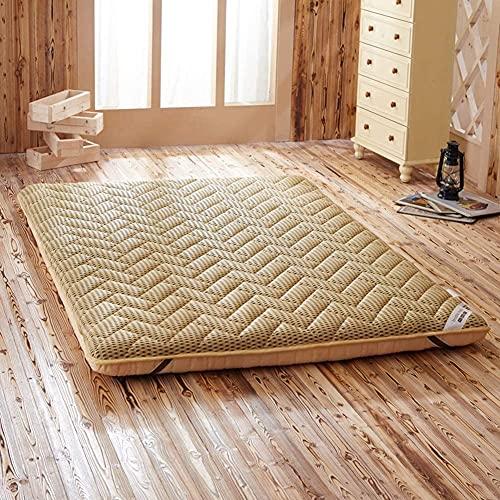 KMatratze Morbido Materasso futon Giapponese Soft Not-Slip, Materasso per Pavimenti Pieghevoli Tatami tatame, Pavimento per dormito (Color : Yellow, Size : 100X200CM)