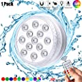 Submersible LED Pool Light, Waterproof Underwater Lights with RF Remote Control, Suction Cups, Magnets, Battery Operated Decor Summer 16 Colors Light for Pond Party Garden Shower(1 Pack)